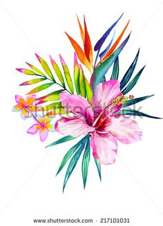 watercolor flowers and leaves central composition - stock photo