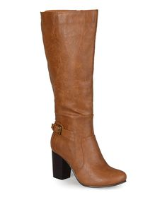 This Tan Jimmi Wide-Calf Boot by Journee Collection is perfect! #zulilyfinds