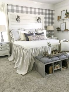 Check out my new shiplap headboard for my master bedroom makeover. I wanted my room to have a cozy cottage farmhouse vibe. Cottage Style Bedrooms, Style Cottage, Farmhouse Master Bedroom, Master Bedroom Makeover, Home Decor Bedroom, Cozy Cottage, Bedroom Ideas, Bedroom Designs, Warm Bedroom