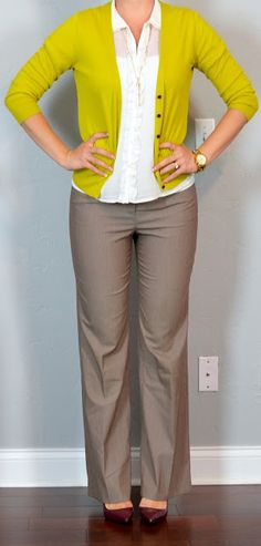 Outfit Posts: outfit post: mustard cardigan, white ruffle blouse, tan 'editor' pants, burgundy heels