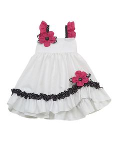 Another great find on #zulily! White Flower Seersucker Ruffle Dress - Girls #zulilyfinds
