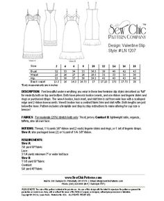 Lingerie sewing Pattern 1207 Valentine