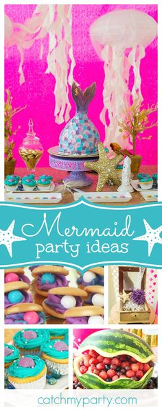 Dive into this fabulous Mermaid birthday party. The mermaid tail birthday cake is amazing!! See more party ideas and share yours at CatchMyParty.com