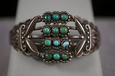Beautiful Native American Turquoies Petite Point Sterling Silver Bracelet