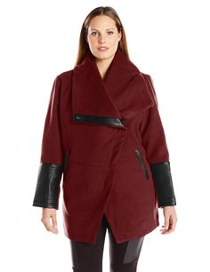 9533095461be76 Amazon.com  Jason Maxwell Women s Plus Size Asymmetrical Zipper Boucle  Coat