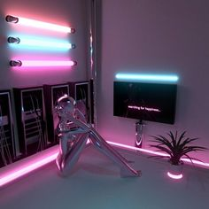 Neon Aesthetic, Aesthetic Bedroom, Neon Bedroom, Bedroom Decor, Dream Rooms, Dream Bedroom, My New Room, My Room, 1980s Interior