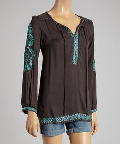 Love this Como No? by Biz Brown & Turquoise Embroidered V-Neck Tunic by Como No? by Biz on #zulily! #zulilyfinds