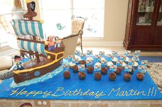 Jake and Neverland Pirates - pirate ship cake. Make the mistake of showing this to Ben about a month ago and it is ALL he talks about. Guess I will be attempting this with a three week old :-).