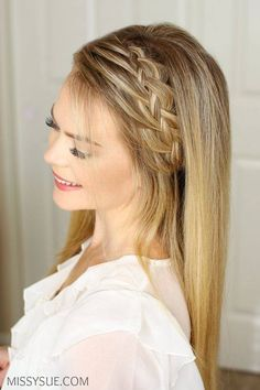 One of my favorite hair tutorials is the Double Braided Ponytail. It looks like such an intricate braid but is actually two braids in one. It got me thinking though, what if it was just one braid? That's where this braid came from. It looks… Prom Hairstyles For Long Hair, Trendy Hairstyles, Girl Hairstyles, Braided Hairstyles, Wedding Hairstyles, Braided Ponytail, Braid Headband, Long Haircuts, Hair Dos