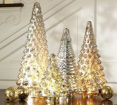 Silver Mercury Glass Trees #potterybarn Pretty trees to place anywhere in the home for #ChristmasDecorations