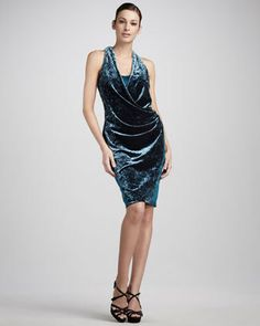 Draped Velvet/Satin Dress by Aidan Mattox at Neiman Marcus. Satin Dresses, Formal Dresses, Aidan Mattox, Neiman Marcus, Evening Dresses, Wrap Dress, Fashion Dresses, Bodycon Dress, Velvet