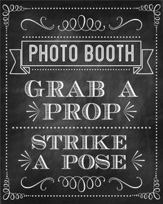 Chalkboard Photo Booth Sign FREE to download at Printabelle …