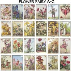 Alphabet Flower Fairies collage by Cicely Mary Barker