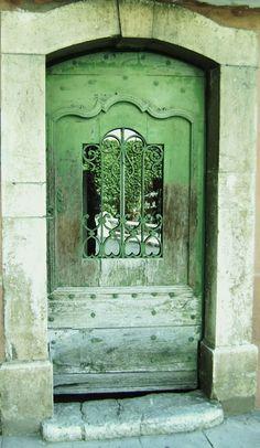 Copper and wood door: verdigris green