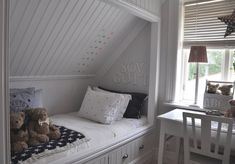 Built in bed with storage Built in bed with storage The post Built in bed with storage appeared first on Sovrum Diy. Bedroom Nook, Upstairs Bedroom, Girls Bedroom, Bedrooms, Attic Bed, Attic Rooms, Angled Bedroom, Bed Nook, Built In Bed