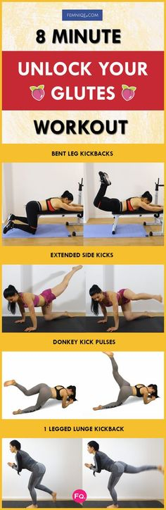 This 10-minute workout starts with a stretching move to help loosen up those tight gluteal muscles. It's a good practice to warm up by stretching your lower body before starting any glute routine. When this is done it will maximize your performance throughout the session and prevent injury. To get the maximum glute pump from this routine do the whole circuit two times. Between each set you can rest for 20 to 30 seconds. Go ahead and give it a try!