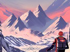 dribbblepopular:  Every Mountain: Alpine Original: http://ift.tt/1oml2rd