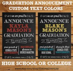 College or High School Graduation Announcement Custom Text  Colors Printable DIY 2014 Grad Announcement