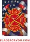 Patriotic Firefighter Garden Flag