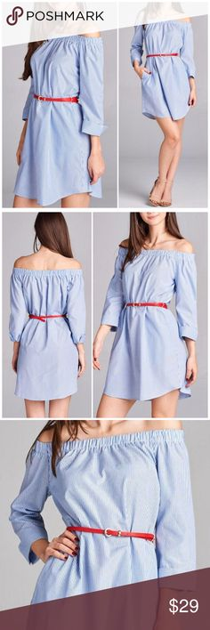 ❗1-DAY SALE❗3/4 Sleeve Off Shoulder Shirt Dress 3/4 Sleeve Off Shoulder Pin Stripe Shirt Dress. Comes with belt. 90% polyester/ 10% cotton. Fits true to size. Small 4/6, medium 8/10, Large 12. Dresses
