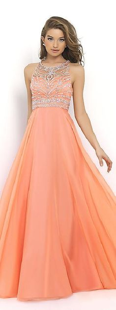 Elegant Natural Floor A-Line Sleeveless Chiffon Prom Dresses In Stock tkzdresses16011fgyte #longdress #fashion #promdress