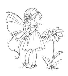 Fairy Coloring Pages, Adult Coloring Pages, Coloring Books, Kids Coloring, Fairy Drawings, Cute Drawings, Fairy Art, Digital Stamps, Doodle Art