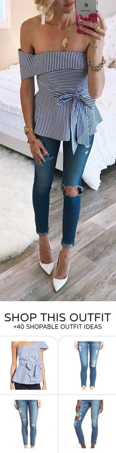#spring #outfits  Striped Off The Shoulder Blouse   Destroyed Skinny Jeans   White Pumps