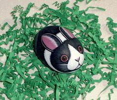 Dutch rabbit, Easter bunny, Easter basket decor, fairy garden, gnome home, moss terrarium, spring garden decor, hand painted rocks by RockArtiste on Etsy, $20.00