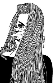 girl, drawing, and black and white image More