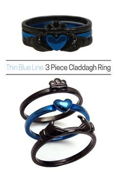 Blue Line Claddagh Ring Black and Blue Stainless Steel 3 Piece Set The most versatile claddagh ring! Can be worn all together or in any combination of the threeThe most versatile claddagh ring! Can be worn all together or in any combination of the three Black Rings, Gold Rings, Cute Jewelry, Jewelry Accessories, Jewelry Box, Bijoux Design, Claddagh Rings, Claddagh Tattoo, Anniversary Gift For Her