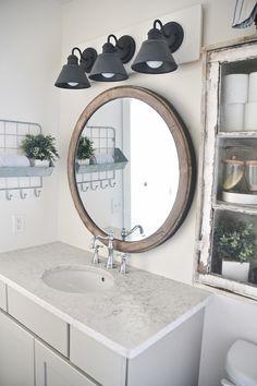 DIY Farmhouse Bathroom Vanity Light Fixture   Vanity light ...
