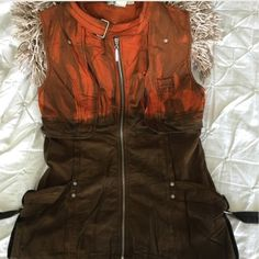 Zip up vest I love this ombré orange to brown Monoreno vest.  I purchased this from another posher who has a beautiful closet and am in love with this vest.  It didn't work with what I purchased it for.  I don't wear enough of this color to keep and this beauty should be seen.  It is gorgeous.  This is new and never worn.  Size large  Jackets & Coats Vests
