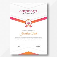 Vertical colored pink and orange geometr... | Premium Psd #Freepik #psd #abstract #template #geometric #graduation #certificate #certification #appreciation #achievement #award Certificate Of Appreciation, Certificate Of Achievement, Real Estate Slogans, Certificate Design Template, Plan Sketch, Stationery Items, Photography Tutorials, Geometric Shapes, Abstract Template