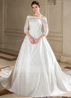 [€ 166.89] Corte de baile Estrapless Cola capilla Satén Vestido de novia (002008174)