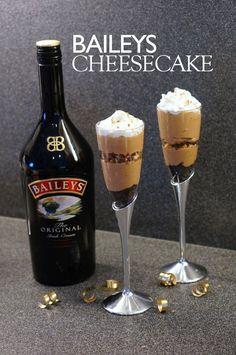 No Bake Baileys Cheesecake Recipe - We're Calling Shenanigans Baileys Recipes, Pumpkin Cheesecake, Cheesecake Recipes, Dessert Recipes, Guinness Recipes, Trifle Recipe, Pudding Recipe, Baking Recipes, Puddings