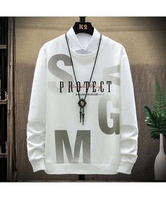 Men's Sweatshirts, Letter Patterns, White Letters, Branded T Shirts, Graphic Sweatshirt, Lettering, Long Sleeve, Boys, Shop