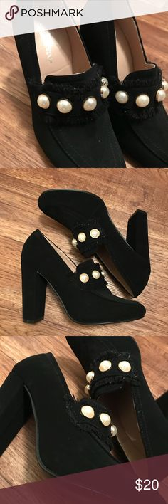 03853dd2c631d I just added this listing on Poshmark  Faux Pearl Embellished Chunky Heels.   shopmycloset