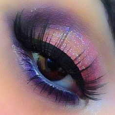 Pink and purple glitter eye makeup #vibrant #smokey #bold #eye #makeup #eyes