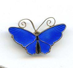 """Vtg David Anderson Norway Butterfly Blue Enamel Sterling Brooch Pin 4.0Gr 1-1/4"""" #DavidAnderson"""