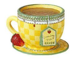 I varieté Reed to Decoupage: For tea . Tee Kunst, Strawberry Tea, Teapots And Cups, Teacups, Cuppa Tea, Tea Cozy, Tea Art, Country Art, My Tea