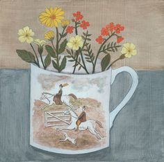 'Out riding' a painting inspired by a transferware plate. #debbiegeorgepainter #primrose #transferware #riding #flowerpainting #art #commission