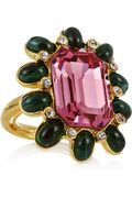 KENNETH JAY LANE  22-karat gold-plated Swarovski crystal ring