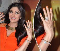 Shilpa Shetty wearing Yellow Sapphire & Emerald Gemstone ...