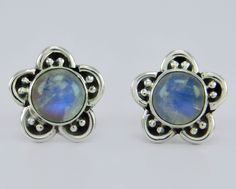 925 Sterling Solid Silver Jewelry Rainbow Moonstone Stud Earring s.11 mm SS-130