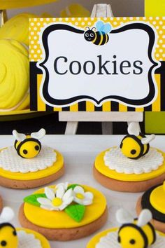 Don't miss this buzzing bumble bee birthday party! The cookies are so pretty! See more party ideas and share yours at CatchMyParty.com #catchmyparty #partyideas #bumblebee #bees #bumblebbeparty 1st Birthday Cakes, Baby Girl 1st Birthday, Birthday Celebration, Birthday Parties, Bumble Bee Cake, Bumble Bee Birthday, Bee Cookies, Winnie The Pooh Cake, Bee Party