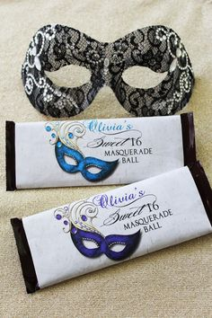 Sweet Sixteen Masquerade Candy Bar Wrappers | Candy Wrapper | Quinceanera | Sweet Sixteen | Hershey Wrapper | Candy Labels | Party Favors by TheInspiredEdge on Etsy https://www.etsy.com/listing/236380676/sweet-sixteen-masquerade-candy-bar