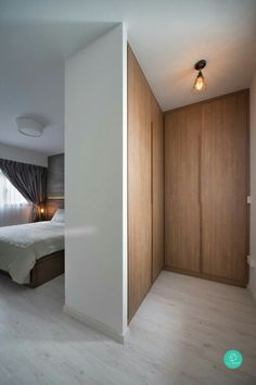 L shape wardrobe in white and wood