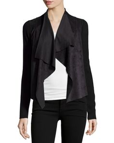 Faux-Suede+Panel+Draped+Cardigan,+Black+by+T+Tahari+at+Neiman+Marcus+Last+Call.