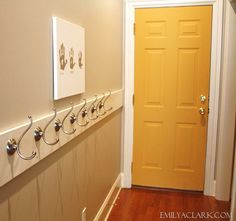 Creating a simple and inexpensive space to hang up coats and backpacks by the back door