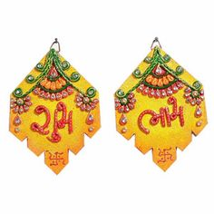 Clay and Wood Shubh Labh Wall Art Hanging Stunning diamond design wall art with auspicious shubh and labh wall hanging. Rs. 375 ($6.15) http://www.tajonline.com/diwali-gifts/product/d3749/clay-and-wood-shubh-labh-wall-art-hanging/?aff=pint2013/